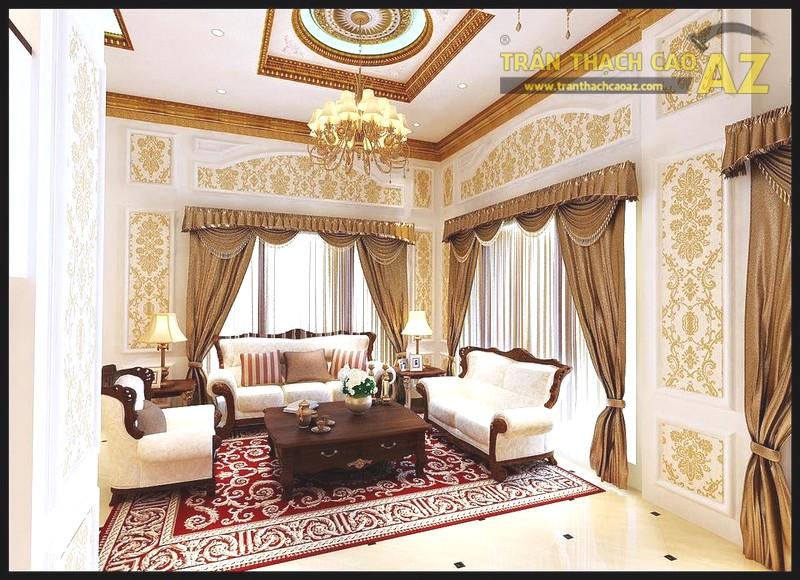 Trần thạch cao phòng khách tân cổ điển cũng rất đẹp, sang trọng