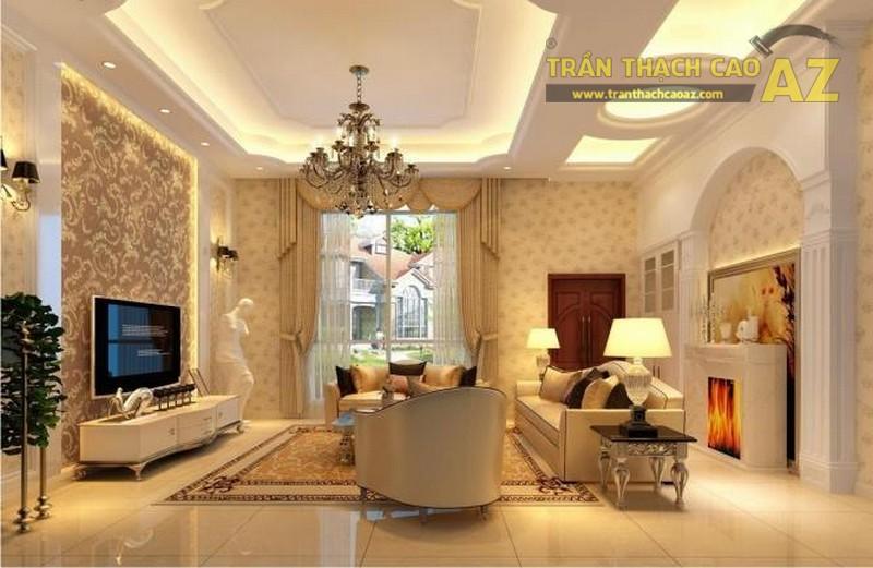 Hơn cả 1 sản phẩm trang trí, trần thạch cao phòng khách hiện đại còn tạo điểm nhấn cho không gian cực thu hút