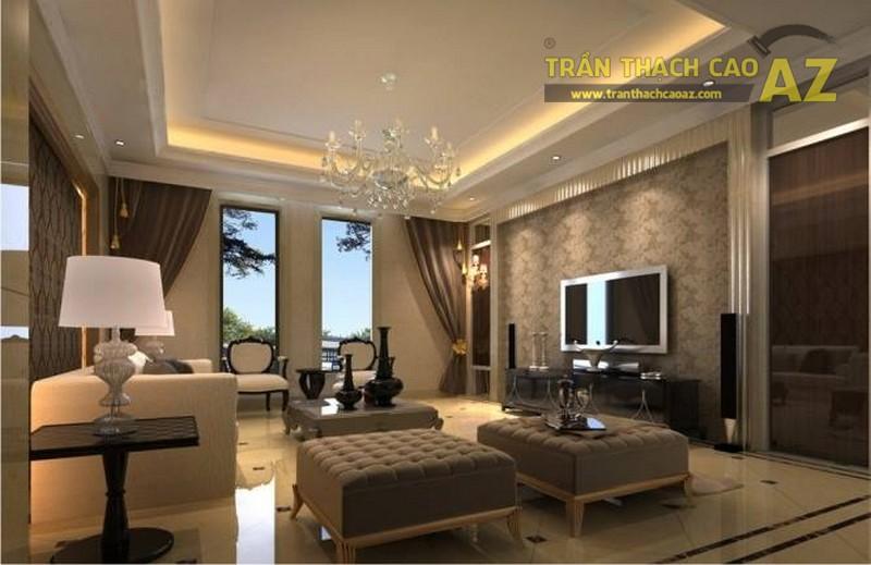 Trần thạch cao phòng khách giật cấp đơn giản nhưng vẫn đẹp xuất sắc