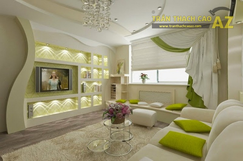 Vách thạch cao đẹp trang trí phòng khách