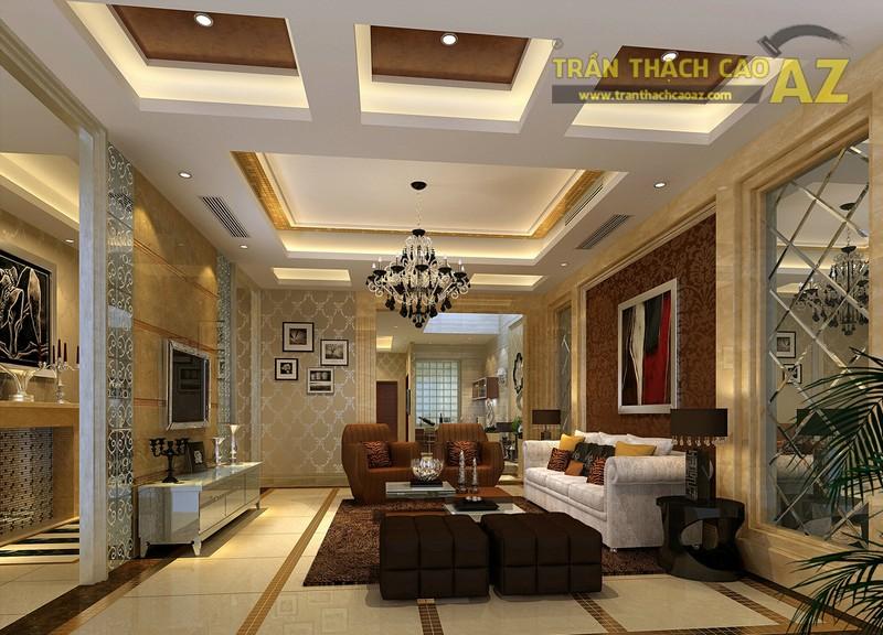 Các mấu trần thạch cao giật cấp hiện đại thường có chủ ý nhấn mạnh khu vực không gian trung tâm phòng khách