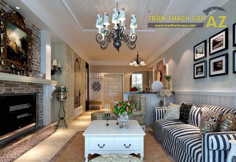 Thiết kế nội thất phòng khách ăn nhập với thiết kế trần thạch cao tạo nên 1 không gian cực đẹp