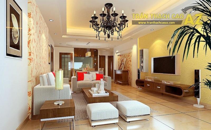 Trần thạch cao giật cấp nhẹ nhàng tạo độ thoáng cho phòng khách nhỏ