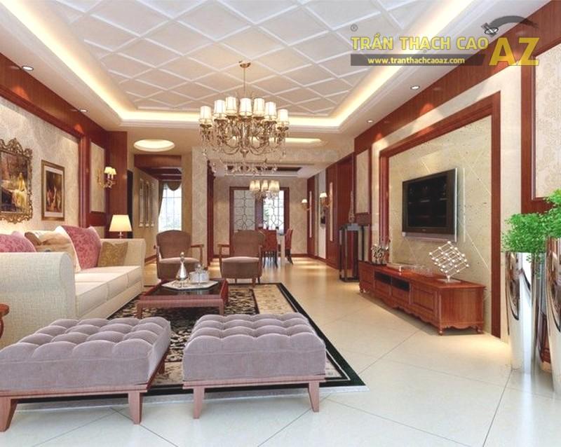 Trần thạch cao phòng khách đơn giản mà đẹp, sang trọng