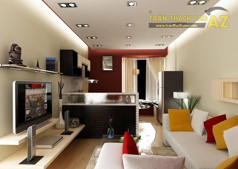 Trần phẳng được sử dụng nhiều trong các ý tưởng thiết kế trần thạch cao phòng khách hiện đại