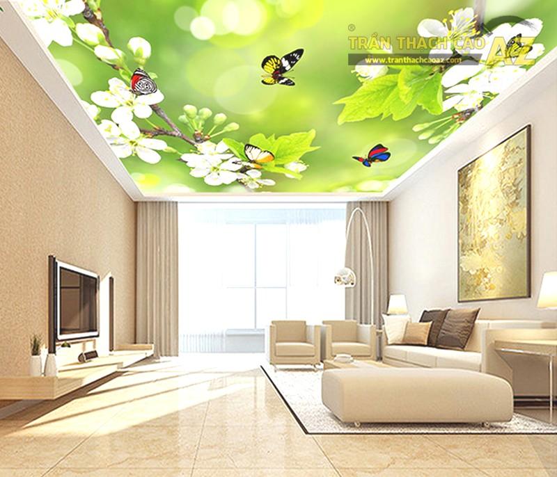 Trần thạch cao giật cấp phòng khách kết hợp tranh 3D tuyệt đẹp