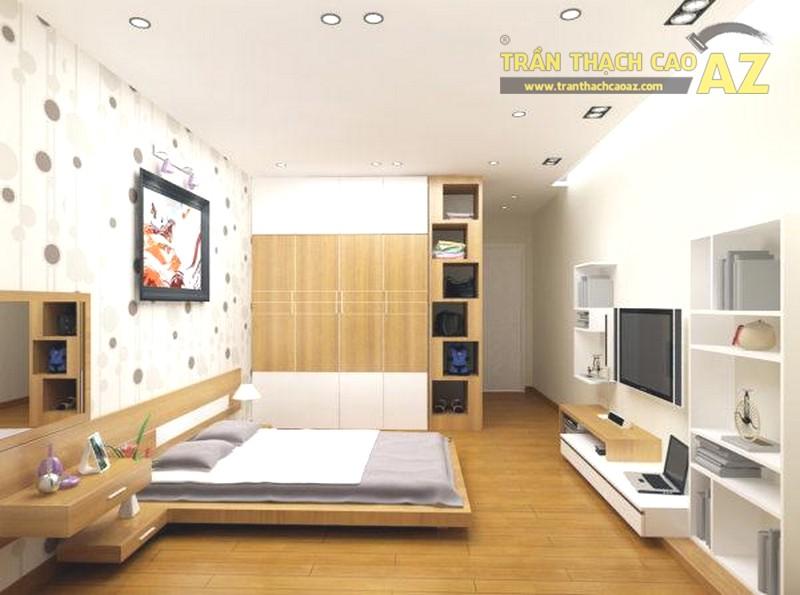 Trần thạch cao phòng ngủ thiết kế đơn giản - trần phẳng nhưng cực đẹp, hiện đại