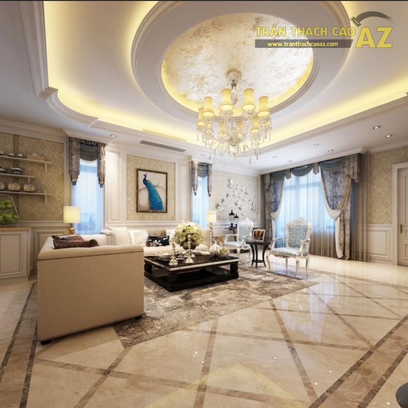 Trần thạch cao phòng khách kết hợp giữa cổ điển và hiện đại