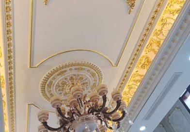Thi công trần thạch cao kết hợp phào chỉ dát vàng tuyệt đẹp tại Đống Đa, Hà Nội