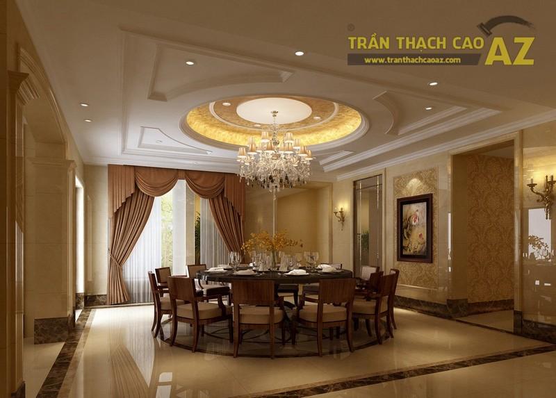 Trần thạch cao giật cấp hình tròn lớn trung tâm thường dành cho các phòng khách biệt thự, theo lối thiết kế tân cổ điển