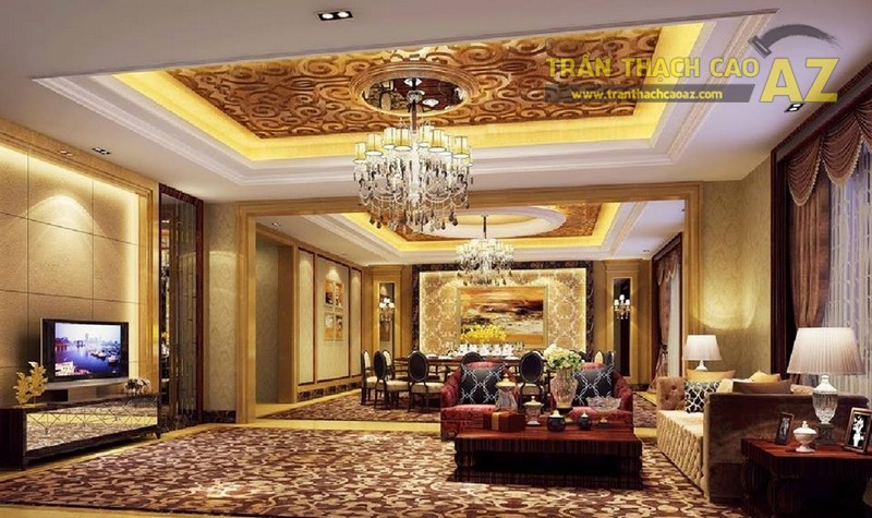 """Trần thạch cao phòng khách đẹp với những tạo hình """"đắt giá"""""""