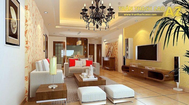 Trần thạch cao giật cấp hở cho phòng khách - Sự lựa chọn được ưa chuộng nhất