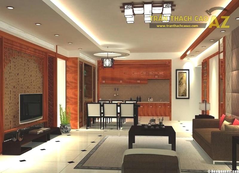 Tạo hình khối 1 cách sáng tạo cho trần phòng khách