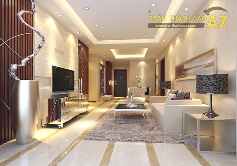 Ánh sáng vàng hoặc ánh sáng trắng thường được sử dụng trong các thiết kế trần giật cấp hở