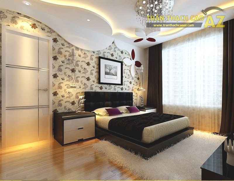 Mẫu trần thạch cao cho phòng ngủ vợ chồng 20m2 - 09