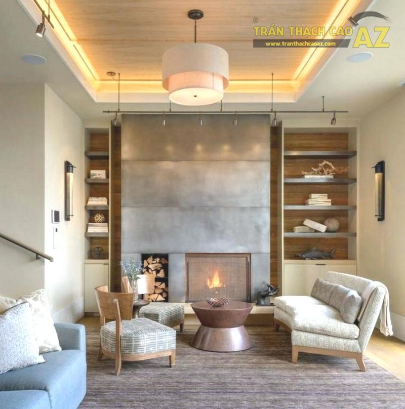 23 mẫu trần thạch cao phòng khách nhỏ hiện đại đẹp mê ly - 05