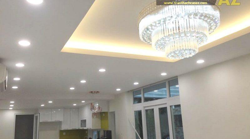 Thi công trần thạch cao phòng khách đẹp cho gia đình chị Thỏa, KĐT Ecopark