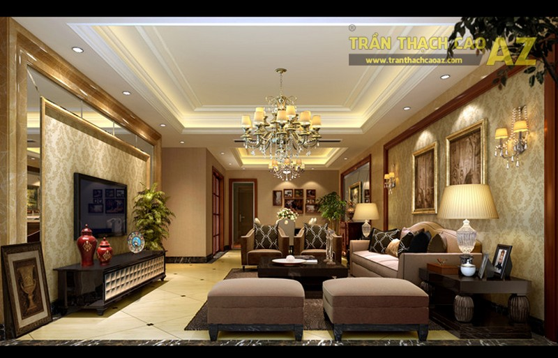 23 mẫu trần thạch cao phòng khách nhỏ hiện đại đẹp mê ly - 10