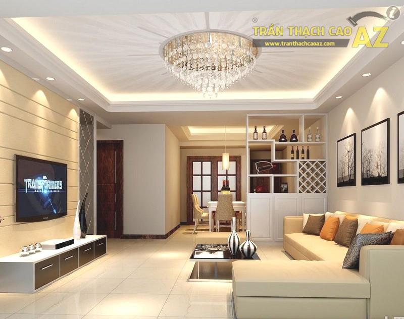 Mẫu trần thạch cao phòng khách nhà ống đẹp, hợp phong thủy - 01