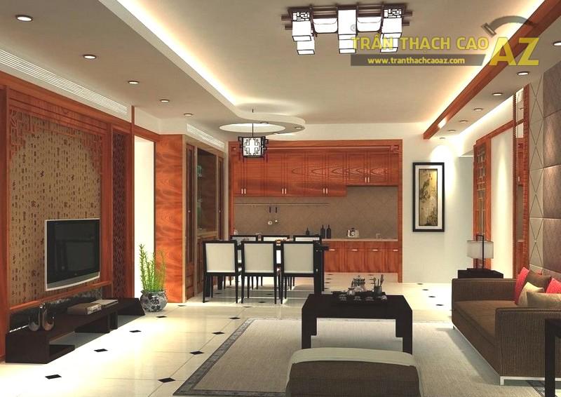 Mẫu trần thạch cao phòng khách nhà ống đẹp, hợp phong thủy - 02
