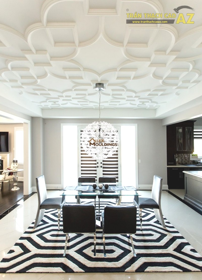 Các mẫu trần phẳng hiện đại tạo độ thoáng tối đa cho phòng khách nhỏ