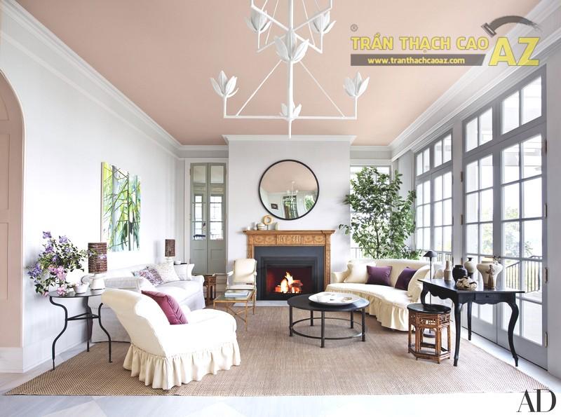 Các mẫu trần phẳng tạo độ thoáng tối đa cho phòng khách nhỏ