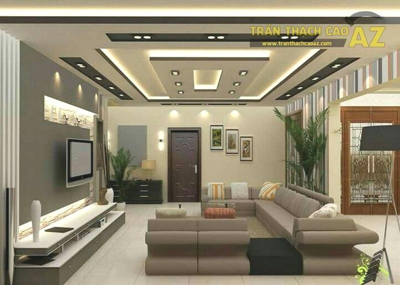 Mẫu trần thạch cao hiện đại cho phòng khách nhỏ - 06