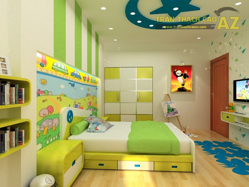 Trần thạch cao phòng ngủ nhà ống đẹp cho bé - 02