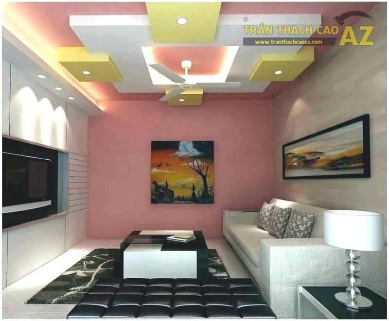 Thi công trần thạch cao đẹp cho phòng khách nhỏ 15m2