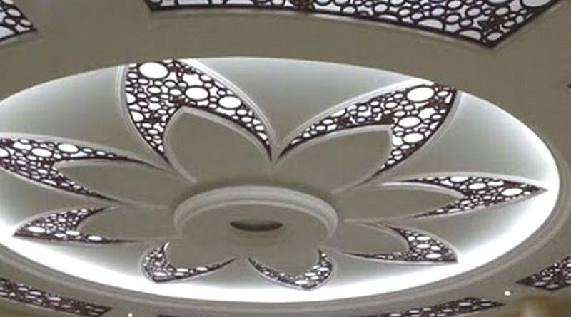 Trần thạch cao kết hợp các tấn CNC trang trí tuyệt đẹp cho phòng khách
