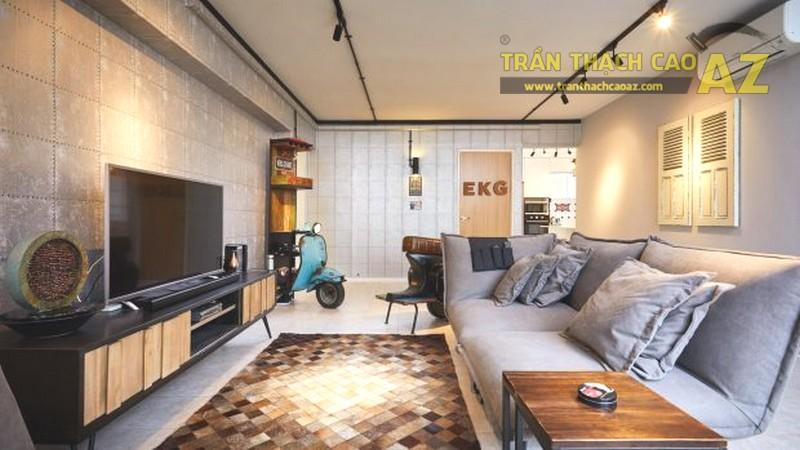 Trần thạch cao phòng khách nhỏ nên chọn các mẫu trần phẳng được thiết kế theo phong cách mới