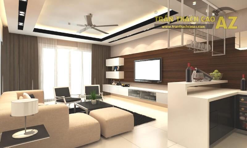 Trần thạch cao phòng khách đẹp phải đảm bảo sự hài hòa với các yếu tố không gian