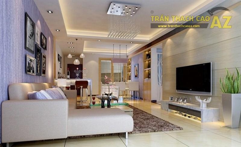Thiết kế trần thạch cao phòng khách nhà ống nên có điểm nhấn nhất định